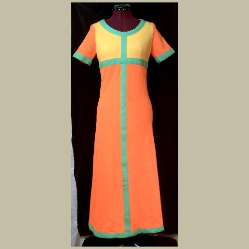 Unique VINTAGE & HANDMADE DRESS~Bright Vivid Colors~Long~Orange/Yellow/Green~size XS/S
