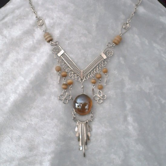 "New~""AMBER WAVES""~Handmade Peruvian NECKLACE ~Alpaca Silver ~Murano/Cat's Eyes beads ~Jewelry"