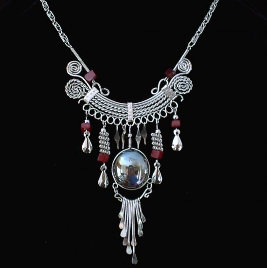 "NEW~""EGYPTIAN EMPRESS""~Handmade Peruvian NECKLACE ~Alpaca Silver ~Murano/Cascajo ~Jewelry"
