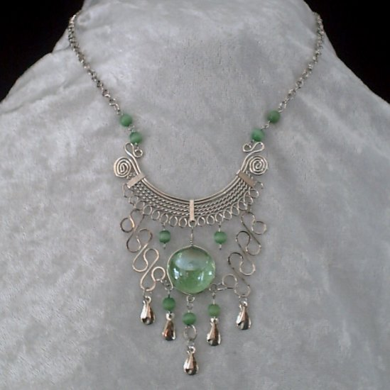 "NEW~""EMERALD OF OZ""~Handmade Peruvian NECKLACE ~Alpaca Silver ~Murano/Cat's Eyes ~Jewelry"