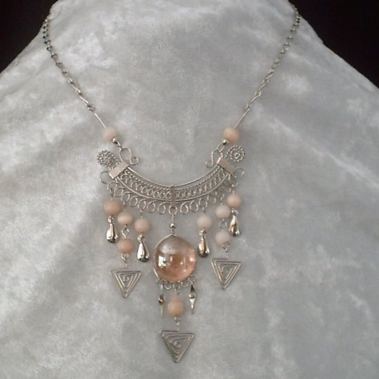 "NEW~""TRIBAL ROSE""~Handmade Peruvian NECKLACE ~Alpaca Silver ~Murano/Cat's Eyes beads ~Jewelry"