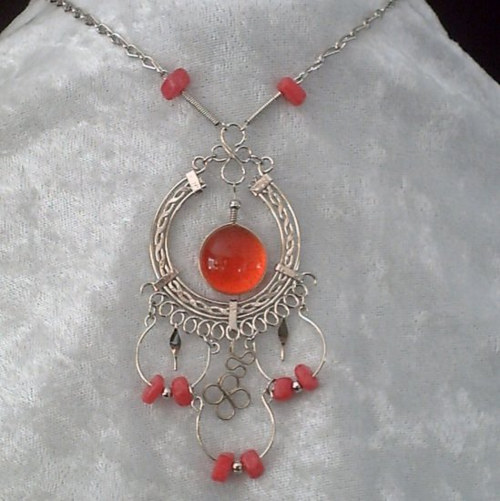 "NEW~""EYE OF FLAMES""~Handmade Peruvian NECKLACE ~Alpaca Silver ~Murano/Cascajo beads ~Jewelry"