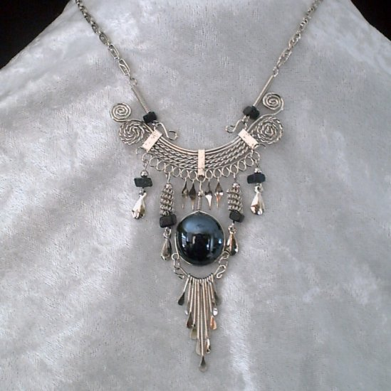 "NEW~""EMPRESS OF SHADOW""~Handmade Peruvian NECKLACE ~Alpaca Silver ~Murano & Cascajo ~Jewelry"