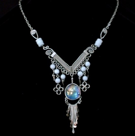 "NEW~""GODDESS MOON""~Handmade Peruvian NECKLACE ~Alpaca Silver ~Murano/Cat's Eye beads ~Jewlery"