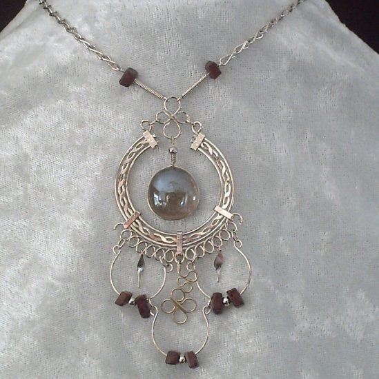 "NEW~""EYE OF SPIRIT""~Handmade Peruvian NECKLACE ~Alpaca Silver ~Murano/Cascajo beads ~Jewelry"