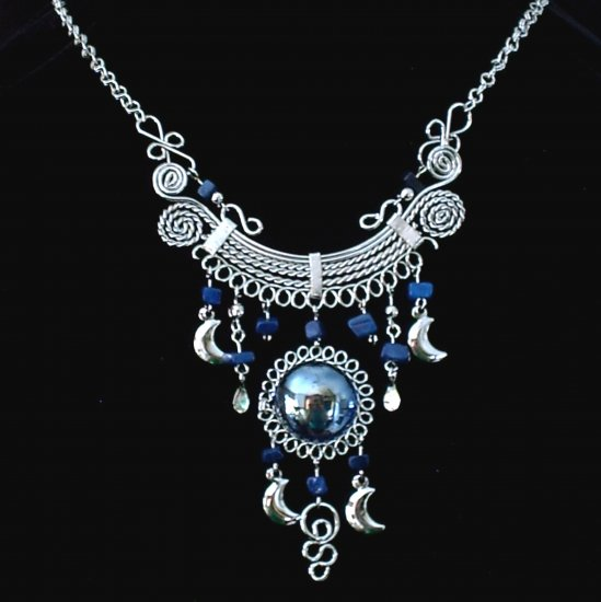 "NEW~""MIDNIGHT MOONS""~Handmade Peruvian NECKLACE ~Alpaca Silver ~Murano/Cascajo beads ~Jewelry"
