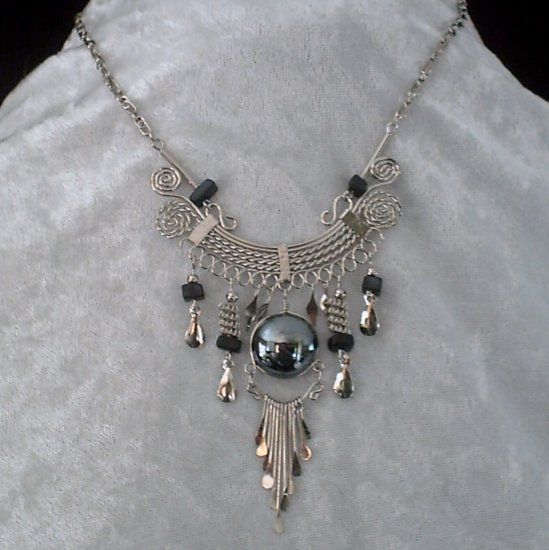 "NEW~""QUEEN OF THE NIGHT""~Handmade Peruvian NECKLACE ~Alpaca Silver ~Murano & Cascajo ~Jewelry"