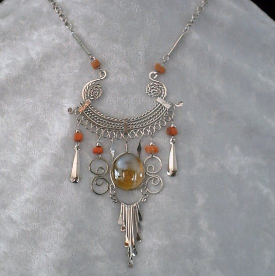 "NEW~""TANGERINE DREAM""~Handmade Peruvian NECKLACE ~Alpaca Silver ~Murano/Cat's Eyes ~Jewelry"