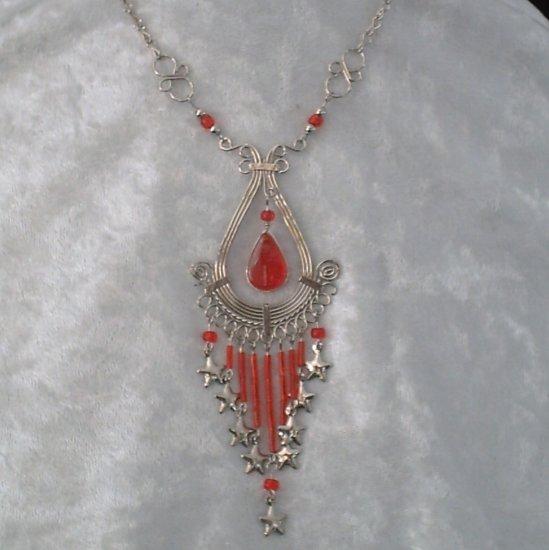 "NEW~""SHOOTING STARS""~Handmade Peruvian NECKLACE ~Alpaca Silver ~Murano Glass & beads ~Jewelry"