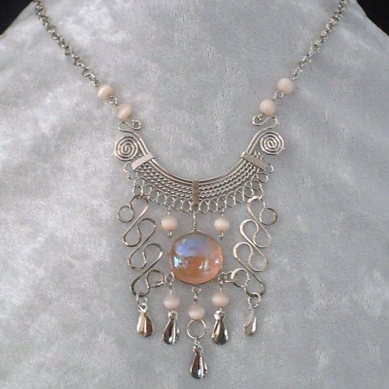 "NEW~""ROSE MIST""~Handmade Peruvian NECKLACE ~Alpaca Silver ~Murano/Cat's Eyes beads ~Jewelry"