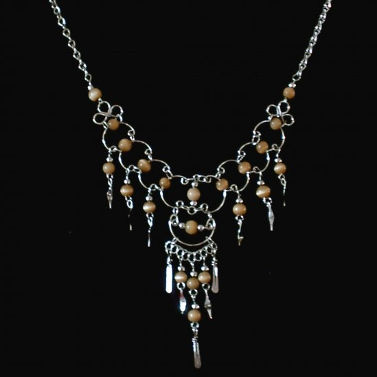 "NEW~""GOLDEN DREAMS""~Handmade Peruvian NECKLACE ~Alpaca Silver ~Cat's Eyes beads ~Jewelry ~Jewelry"