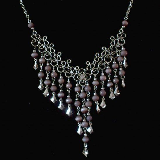 "NEW~""VIOLET CASCADES""~Handmade Peruvian NECKLACE ~Alpaca Silver Jewelry ~Cat's Eye beads ~Jewelry"