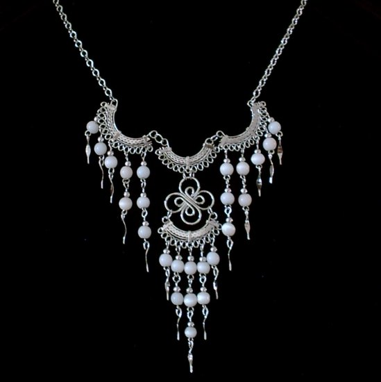 "NEW~""VICTORIAN BLUSH""~Handmade Peruvian NECKLACE ~Alpaca Silver ~Cat's Eye beads ~Jewelry"