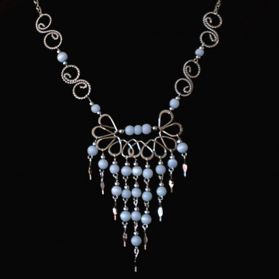 "NEW~""BLUE ANGEL""~Handmade Peruvian NECKLACE ~Alpaca Silver ~Cat's Eyes beads ~Jewelry"