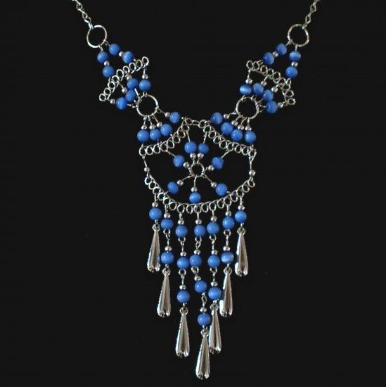 "NEW~""WEB OF ETERNITY""~Handmade Peruvian NECKLACE ~Alpaca Silver Jewelry ~Cat's Eye beads"
