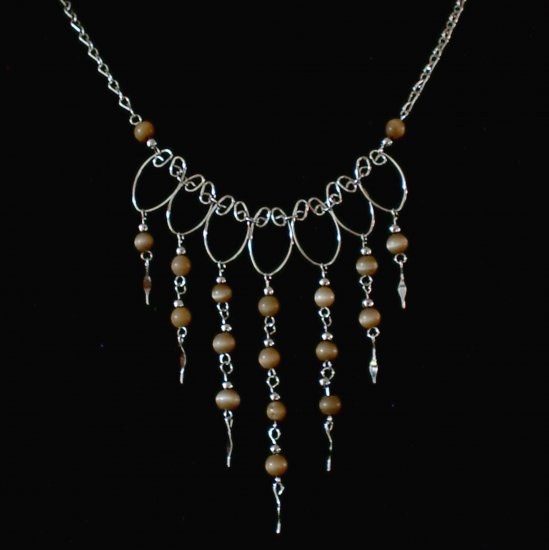 "NEW~""AUTUMN GOLD""~Handmade Peruvian NECKLACE ~Alpaca Silver Jewelry ~Cat's Eyes beads"