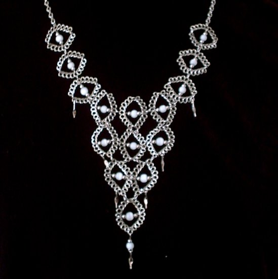 "NEW~""VICTORIAN LACE""~Handmade Peruvian NECKLACE ~Alpaca Silver Jewelry ~Cat's Eyes beads"