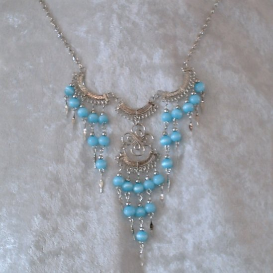 "NEW~""VICTORIAN BLUE""~Handmade Peruvian NECKLACE ~Alpaca Silver Jewelry ~Cat's Eyes beads"