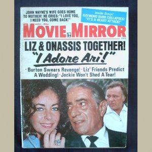 MOVIE MIRROR~1973~v15/#1~VINTAGE CELEBRITY MAGAZINE~LIZ~John Wayne~Burton~Jackie~Princess Caroline++