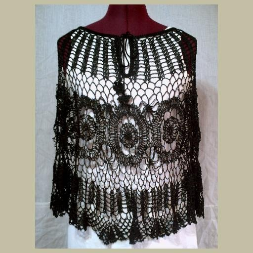 NEW~BLACK CROCHETED PONCHO~Crochet Top~New without Tags