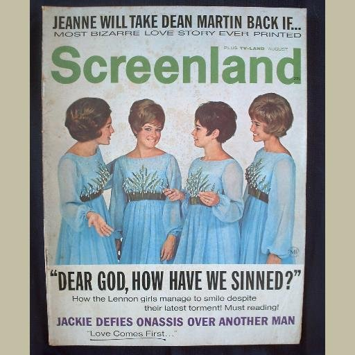 SCREENLAND~1970~v70/#8~VINTAGE CELEBRITY MAGAZINE~LENNON GIRLS~Jackie O~Martins~Johnny Cash~Sinatra