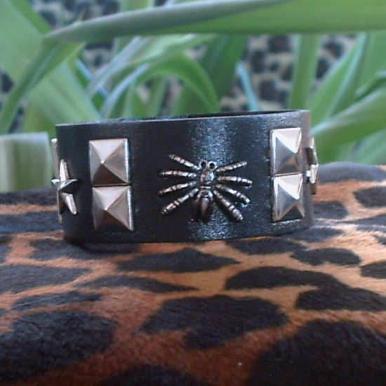 Black Pleather STUDDED CUFF BRACELET ~ Punk ~ Rock ~ Goth ~ Spider & Stars & Squares
