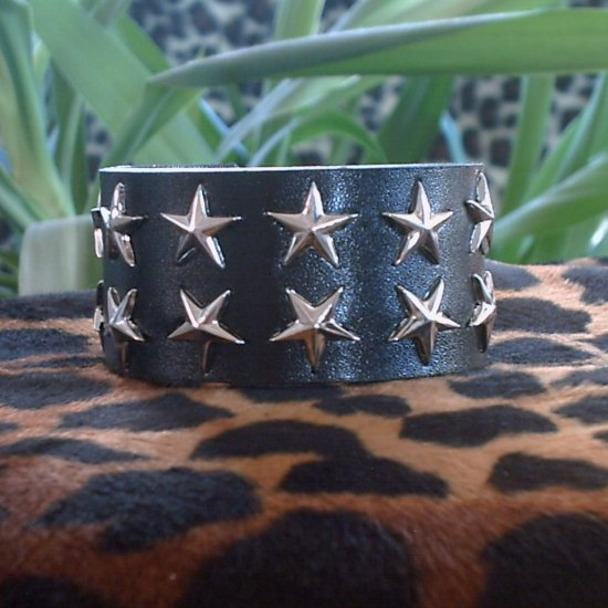 Black Pleather STUDDED CUFF BRACELET ~ Punk ~ Rock ~ Goth ~ Two rows of Stars
