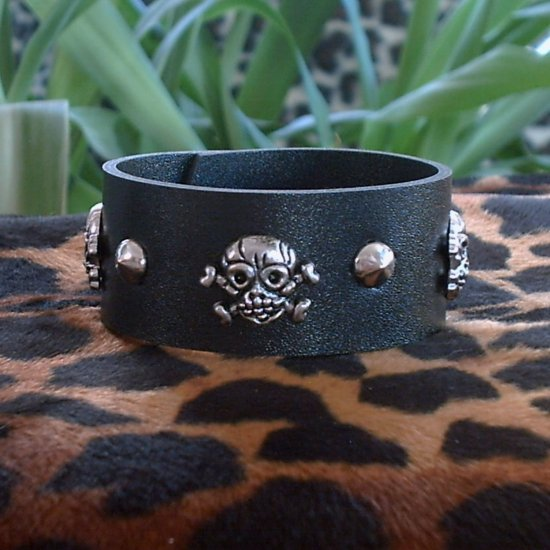 Black Pleather STUDDED CUFF BRACELET ~Punk~Rock~Goth~Pirates ~small Skulls & Crossbones