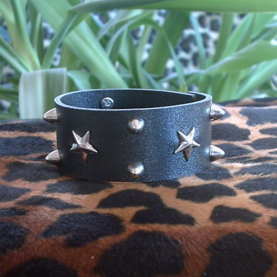 Black Pleather STUDDED CUFF BRACELET ~ Punk ~ Rock ~ Goth ~ Raised Studs & Stars ~ FREE SHIPPING