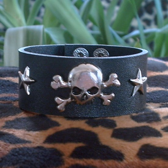 Black Pleather STUDDED CUFF BRACELET ~Punk~Rock~Goth~Pirates ~Skulls & Crossbones & Stars