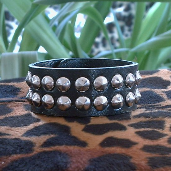 Black Pleather STUDDED CUFF BRACELET ~ Punk ~ Rock ~ Goth ~ Double Raised Studs