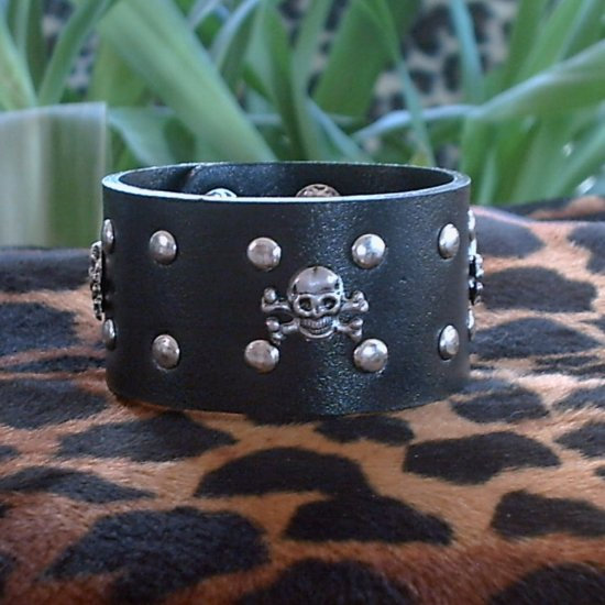 Black Pleather STUDDED CUFF BRACELET ~Punk~Rock~Goth~Pirates ~Skulls & Crossbones