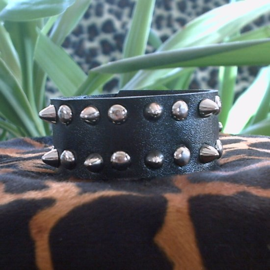 Black Pleather STUDDED CUFF BRACELET ~Punk~Rock~Goth~ ~Double Raised & Flat Studs ~FREE SHIPPING