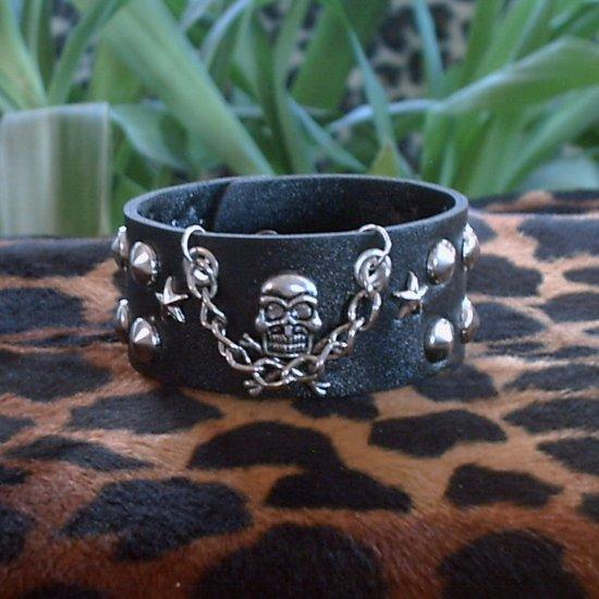 Black Pleather STUDDED CUFF BRACELET ~Punk~Rock~Goth~Pirates ~with Skull & Bones, Stars, Chain