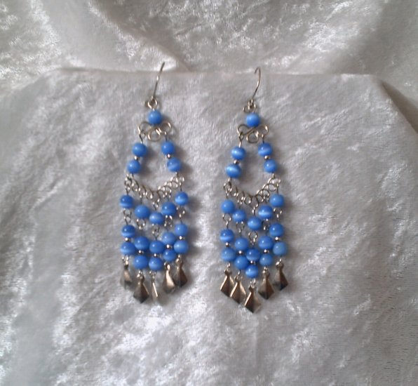 """Royal Blue Cascades"" HANDMADE Peruvian EARRINGS ~ Alpaca Silver Jewelry ~ Dangling Cat's Eyes Beads"