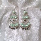 """Pale Emerald Hoop"" HANDMADE Peruvian EARRINGS ~ Alpaca Silver Jewelry ~ Cat's Eyes Beads"