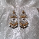 """Amber Gold Hoop"" HANDMADE Peruvian EARRINGS ~ Alpaca Silver Jewely ~ Cat's Eyes Beads"