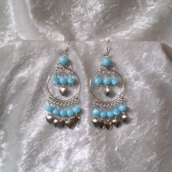 """Sky Blue Hoop"" HANDMADE Peruvian EARRINGS ~ Alpaca Silver Jewelry~ Dangling Cat's Eyes Beads"