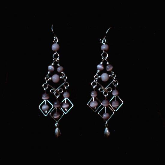 """Lavender Diamonds"" HANDMADE Peruvian EARRINGS ~ Alpaca Silver Jewelry ~ Dangling Cat's Eyes Beads"