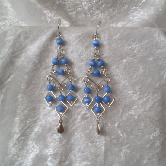 """Deep Sea Blue Diamonds"" HANDMADE Peruvian EARRINGS ~Alpaca Silver Jewelry ~Cat's Eyes Beads"
