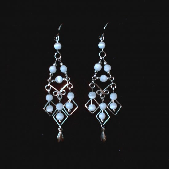 """White Pearl Diamonds"" HANDMADE Peruvian EARRINGS ~Alpaca Silver Jewelry ~Cat's Eyes Beads"