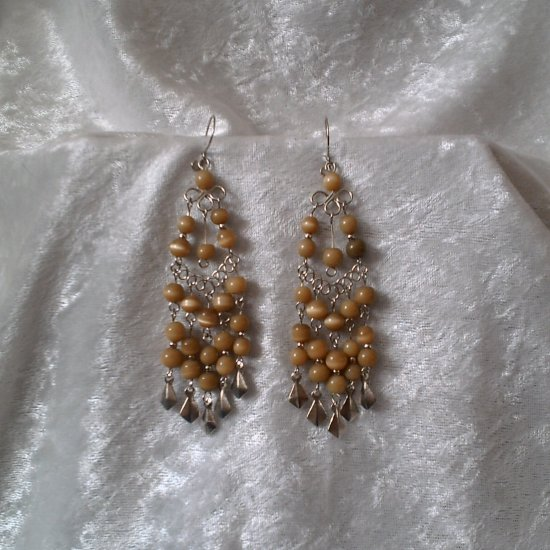 """Golden Cascades"" HANDMADE Peruvian EARRINGS ~Alpaca Silver Jewelry ~Dangling Cat's Eyes Beads"