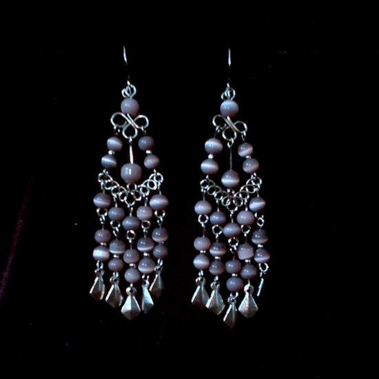 """Lavender Cascades"" HANDMADE Peruvian EARRINGS ~Alpaca Silver Jewelry ~Dangling Cat's Eyes Beads"