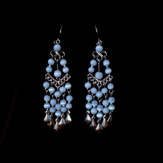 """Ice Blue Cascades"" HANDMADE Peruvian EARRINGS ~Alpaca Silver Jewelry ~Dangling Cat's Eyes Beads"
