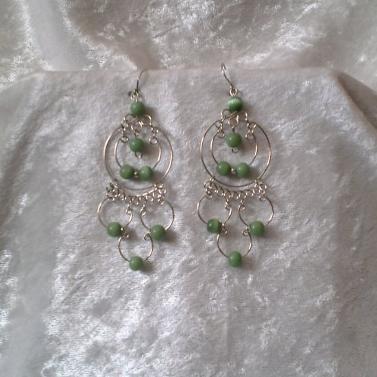 """Endless Emerald Hoops"" HANDMADE Peruvian EARRINGS ~Alpaca Silver Jewelry ~Cat's Eyes Beads"