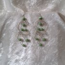 """Endless Emerald Hoops"" HANDMADE Peruvian EARRINGS ~Alpaca Silver Jewelry ~Cat's Eyes Beads"