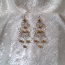 """Endless Amber Hoops"" HANDMADE Peruvian EARRINGS ~Alpaca Silver Jewelry ~Cat's Eyes Beads"