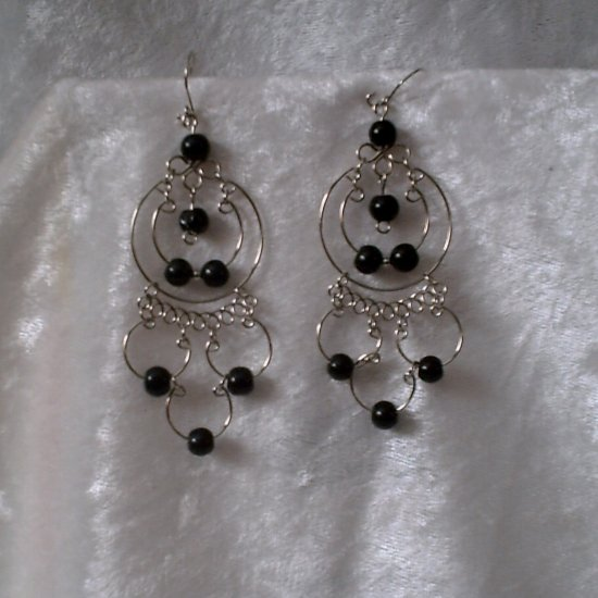 """Midnight Endless Hoops"" HANDMADE Peruvian EARRINGS ~Alpaca Silver Jewelry ~Cat's Eyes Beads"