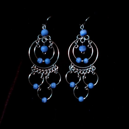 """Endless Blue Waters Hoops"" HANDMADE Peruvian EARRINGS ~Alpaca Silver Jewelry ~Cat's Eye Beads"