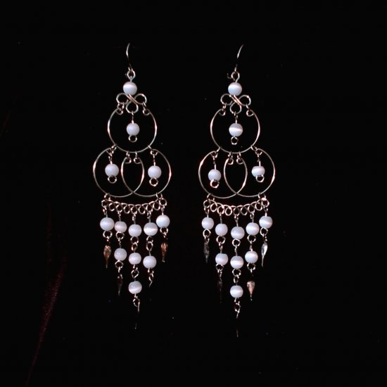 """Triple Elegance in White"" HANDMADE Peruvian EARRINGS ~Alpaca Silver Jewelry ~Cat's Eyes Beads"